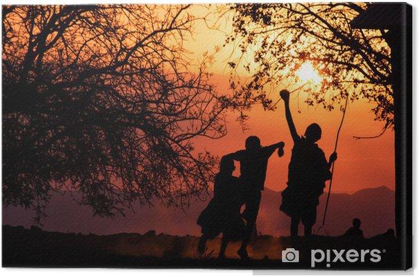 Tableau sur toile Maasai enfants Silhouette - Afrique
