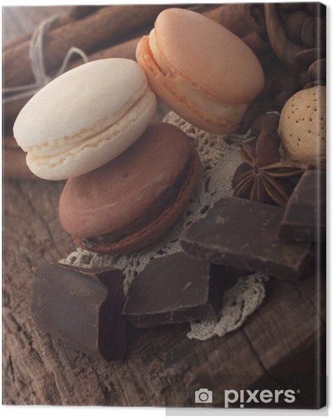 Tableau sur toile Macarons avec des ingrédients et chocolat - Thèmes