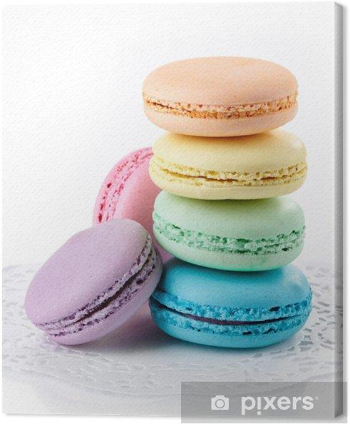 Tableau sur toile Macarons colorés - Desserts et friandises