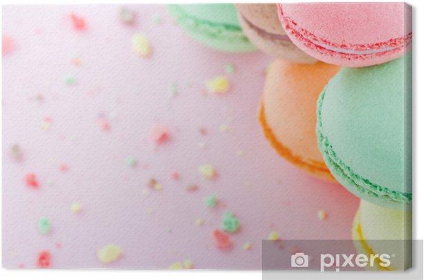 Tableau sur toile Macarons sur fond rose pastel - Thèmes