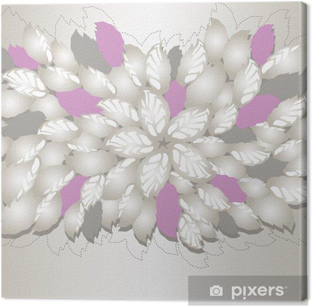 Tableau Sur Toile Magnifique Argent Et De Fleurs Roses Et Feuilles