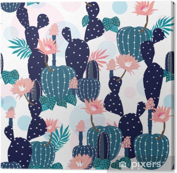 Tableau Sur Toile Main Dessin Modèle Sans Couture Plante Et Fleurs De Cactus Fond Botanique D été Tropical Exotique En Vecteur