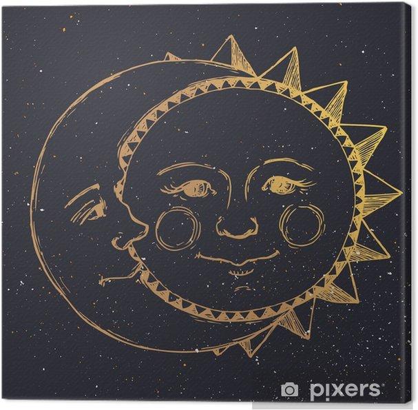 tableau sur toile main soleil dessin avec la lune. Black Bedroom Furniture Sets. Home Design Ideas