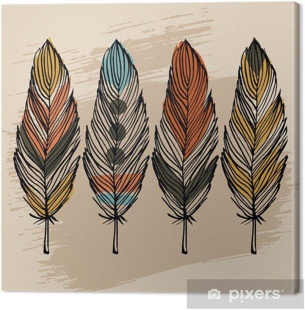 Tableau sur toile Main tirage plume ensemble - Styles