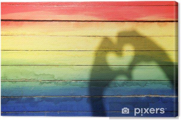 Tableau sur toile Mains faire l\'amour Ombre de coeur sur fond arc-en ...