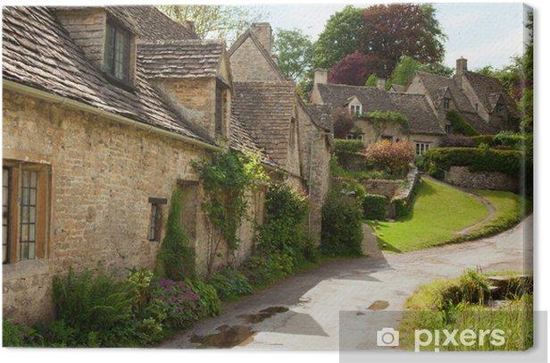Tableau sur toile Maisonnettes traditionnelles Cotswold en Angleterre. Bibury, Royaume-Uni. - Thèmes