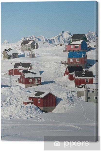 Tableau sur toile Maisons colorées à Kulusuk, Groenland oriental - Pôle nord et Pôle sud