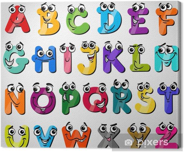 Tableau sur toile Majuscules alphabet illustration de bande dessinée - Thèmes