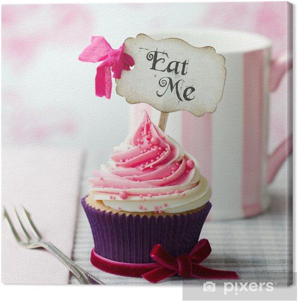 """Tableau sur toile """"Mangez-moi"""" petit gâteau - Bonbons et muffins"""