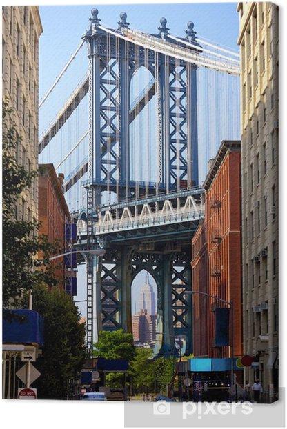 Tableau sur toile Manhattan Bridge et Empire State Building, New York - Voyages