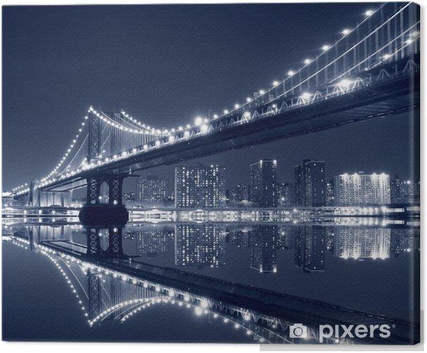 Tableau sur toile Manhattan Bridge et Manhattan At Night -
