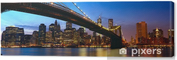 Tableau sur toile manhattan panorama avec brooklyn bridge - Coucher du soleil new york ...