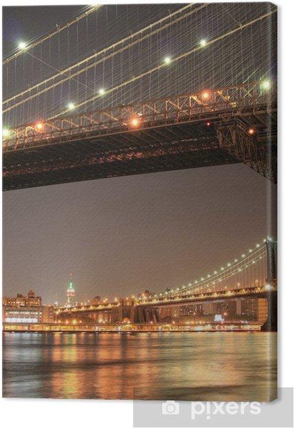 Tableau sur toile Manhattan skyline at night - Villes américaines
