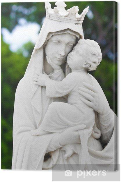 Tableau sur toile Marie portant l'enfant Jésus statue - Religion