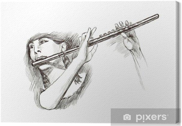 Tableau sur toile Marqueur à pointe dure main de tirage, - musicien - Musique