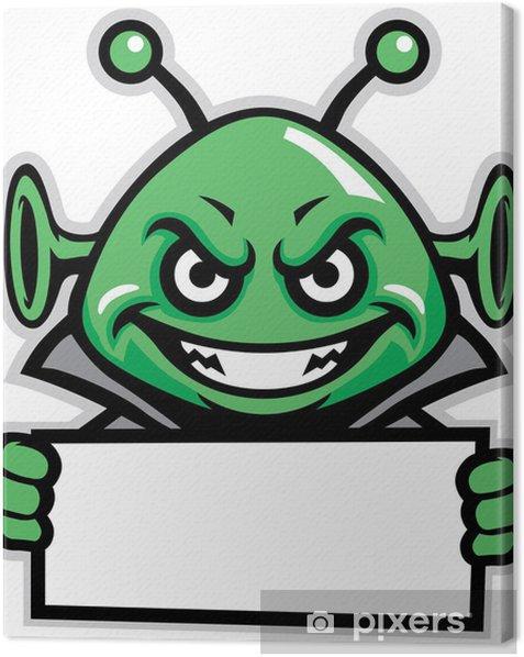 Tableau sur toile Mascotte vert martien tenir un signe - Animaux imaginaires