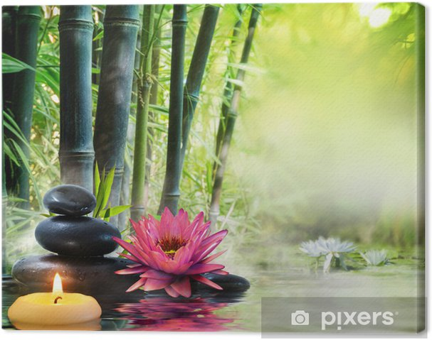 Tableau Sur Toile Massage Dans La Nature Lis Pierres Bambou Notion Zen