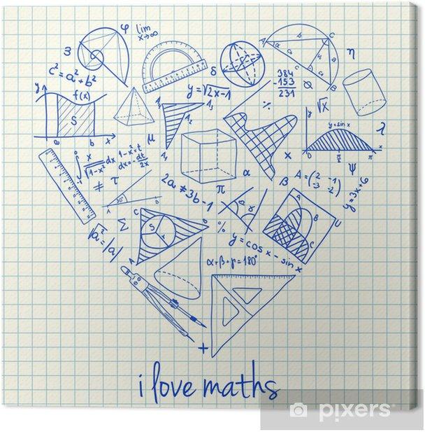 Tableau sur toile Maths dessins en forme de coeur - Sciences fondamentales et appliquées