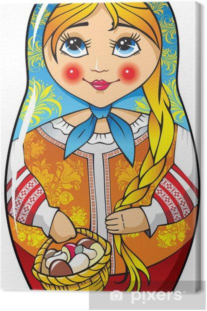 Tableau sur toile Matriochka poupée russe traditionnelle, le folklore, vecteur - Jeux