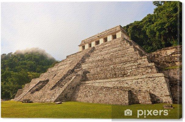 Tableau sur toile Maya pyramide et Palenque, au Mexique. - Amérique