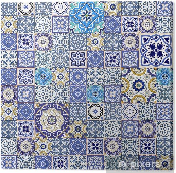 Tableau sur toile Mega motif patchwork transparente de carreaux marocains colorés - Textures