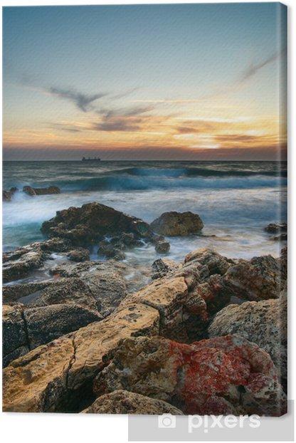 Tableau sur toile Mer et rock au coucher du soleil. - Nature et régions sauvages