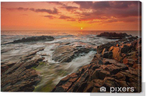Tableau sur toile Mer orageuse au lever du soleil - Ciel