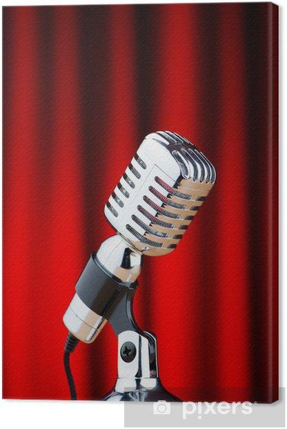 Tableau sur toile Microphone de cru sur le fond - Microphones