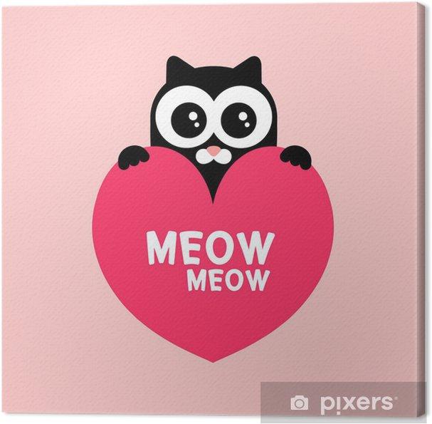 Tableau sur toile Mignon chaton noir tenant une carte de l'amour de coeur - Fêtes internationales