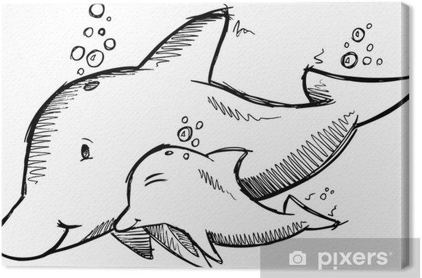 Tableau sur toile Mignon Dolphins Sketch Vector - Animaux marins