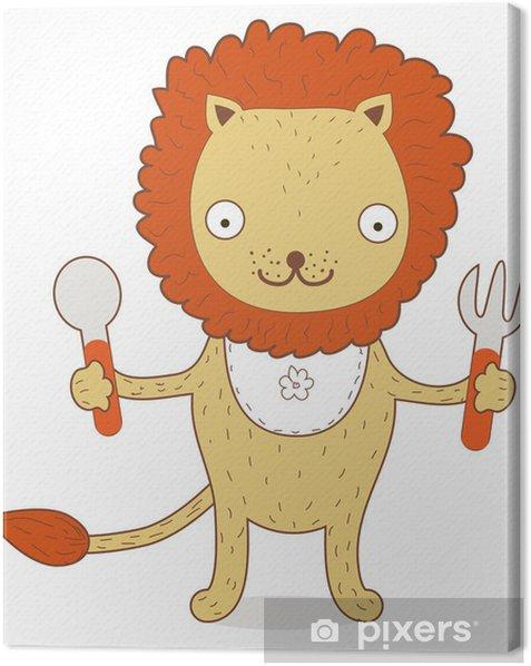 Tableau sur toile Mignon Lion Cub veut manger quelque chose irritable - Mammifères