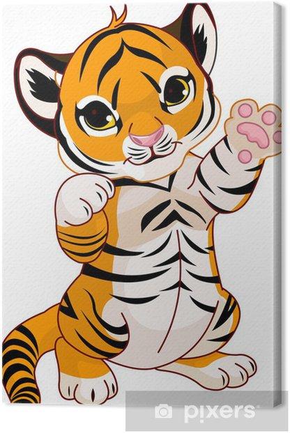 Tableau sur toile Mignon ludique tigre - Sticker mural