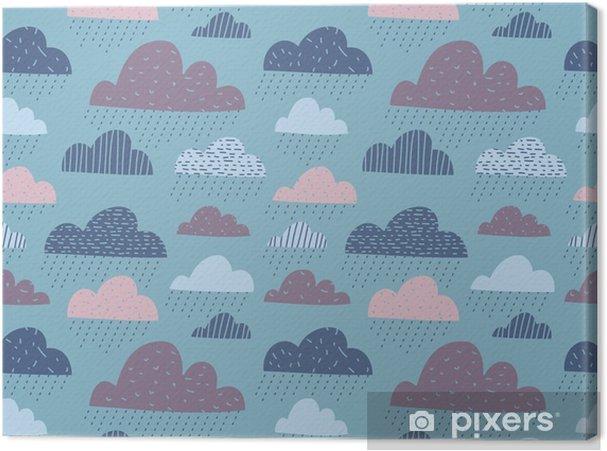 Tableau sur toile Mignon nuages drôles seamless pattern - Paysages