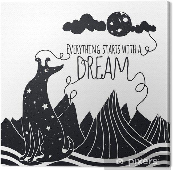 Tableau sur toile Mignon, vecteur, Illustration romantique avec chien regardant la lune. Tout commence par un rêve. Étoiles, les montagnes et les nuages. - Animaux