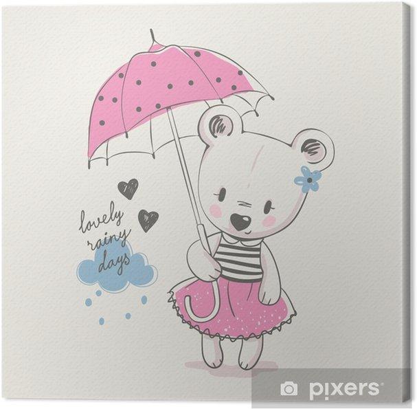 Tableau Sur Toile Mignonne Petite Fille Avec Parapluie Dessin Animé Illustration Vectorielle Dessinés à La Main Peut être Utilisé Pour L Impression