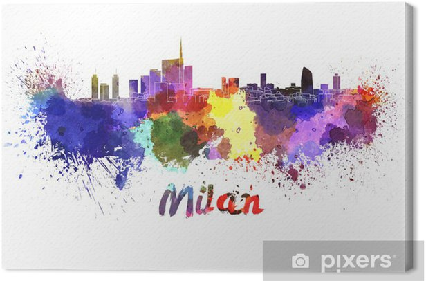 Tableau sur toile Milan horizon à l'aquarelle - Europe