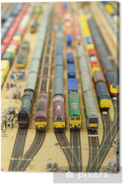 Tableau sur toile Miniature cour pleine de trains de marchandises de modèle - Jeux