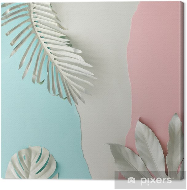 Tableau sur toile Mise en page créative faite de feuilles tropicales peintes en blanc et d'un fond de papier rose et bleu pastel. pose à plat minimale. - Plantes et fleurs