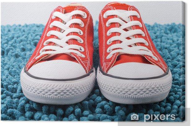 Tableau sur toile Mode baskets Converse rouge - Mode