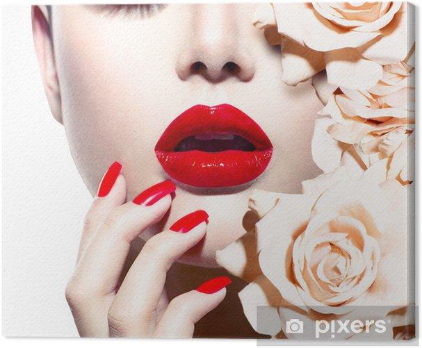 Tableau sur toile Mode femme sexy avec des fleurs. Vogue style Modèle - Mode