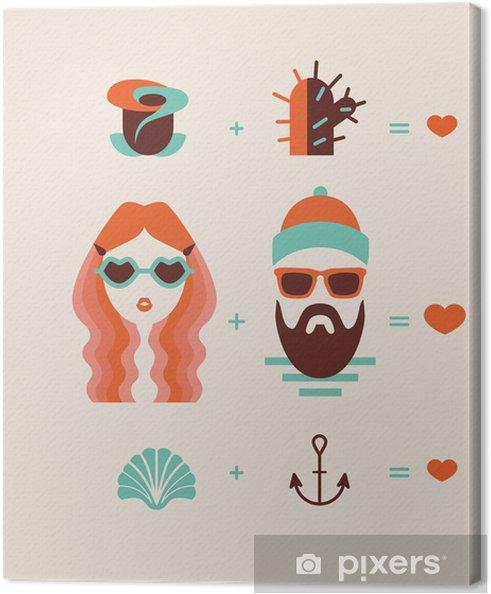 Tableau sur toile Mode homme et femme couple dans l'amour - Couples