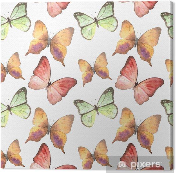 Tableau sur toile Modèle aquarelle de handpaint avec de beaux papillons. - Animaux