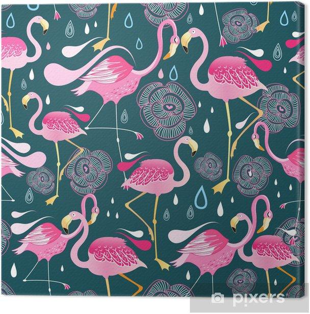 Tableau sur toile Modèle avec des flamants roses - Thèmes