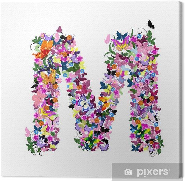 Tableau sur toile Modèle de lettre de papillons et de fleurs - Art et création