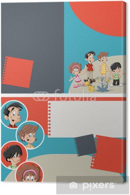 Tableau sur toile Modèle rouge et bleu avec la famille heureuse de bande dessinée mignon - Vie de famille