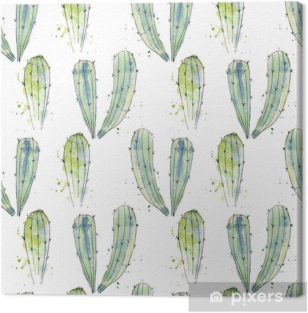 Tableau sur toile Modèle sans couture aquarelle cactus - Plantes et fleurs