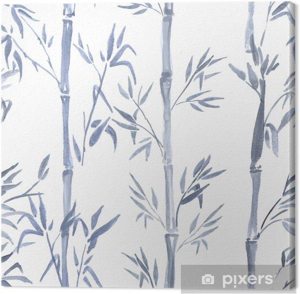 Tableau Sur Toile Modèle Sans Couture Aquarelle Dessinés à La Main Avec Dessin De Plante De Bambou Fond Répété Avec Du Bambou