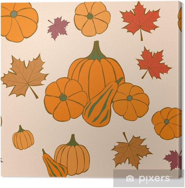 Tableau sur toile Modèle sans couture automne avec des feuilles de citrouille et d'érable. action de grâces. - Culture et religion