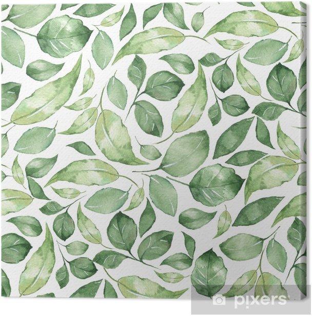 Tableau sur toile Modèle sans couture avec belles feuilles aquarelles vertes 4 - Ressources graphiques