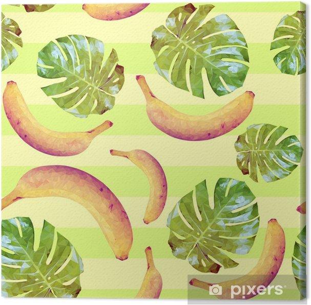 Tableau sur toile Modèle sans couture avec des bananes et des feuilles de palmier - Nourriture
